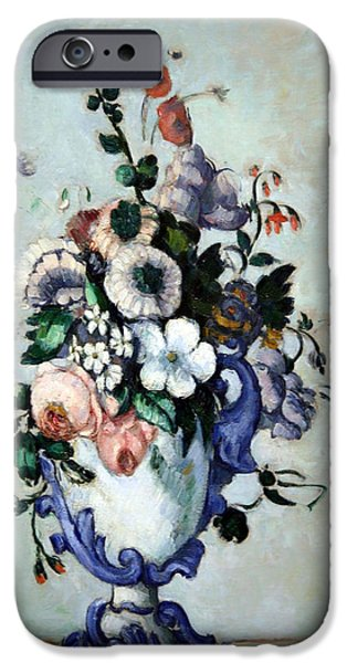 Cora Wandel iPhone Cases - Cezannes Flowers In A Rococo Vase iPhone Case by Cora Wandel