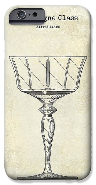 Champagne Glasses Photographs iPhone Cases - Champagne Glass Patent Drawing iPhone Case by Jon Neidert