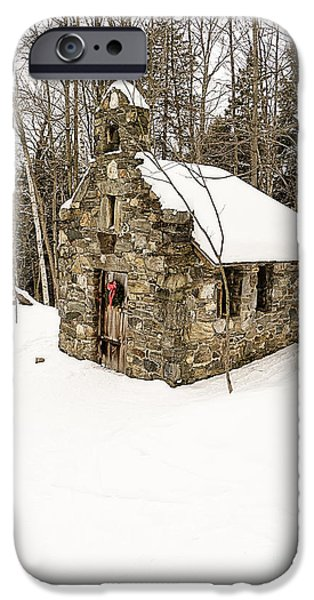 Skiing Art iPhone Cases - Chapel in the Woods Stowe Vermont iPhone Case by Edward Fielding