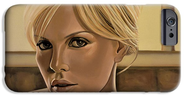 House iPhone Cases - Charlize Theron iPhone Case by Paul  Meijering