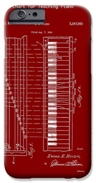 Piano Drawings iPhone Cases - Chart for Teaching Piano Patent 1944 iPhone Case by Mountain Dreams