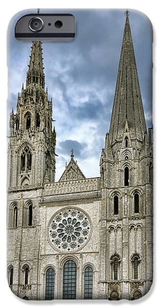Facade iPhone Cases - Chartres Cathedral iPhone Case by Olivier Le Queinec