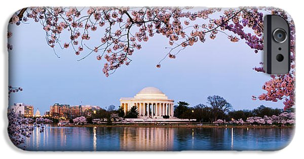 Basin iPhone Cases - Cherry Blossom Tree With A Memorial iPhone Case by Panoramic Images