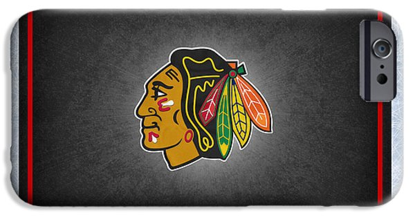 Arena iPhone Cases - Chicago Blackhawks iPhone Case by Joe Hamilton
