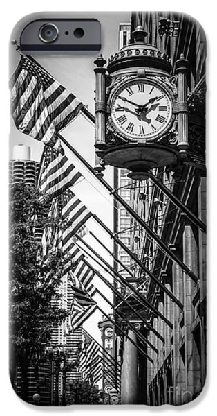 Editorial iPhone Cases - Chicago Macys Clock in Black and White iPhone Case by Paul Velgos
