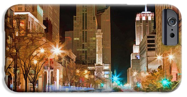 Michigan Paintings iPhone Cases - Chicago Michigan Avenue Light Streak iPhone Case by Christopher Arndt