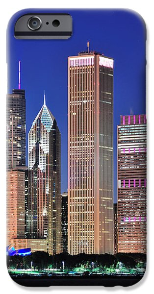 Sears Tower iPhone Cases - Chicago skyline at dusk iPhone Case by Songquan Deng