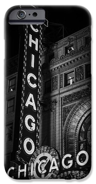 Attraction iPhone Cases - Chicago Theatre Sign in Black and White iPhone Case by Paul Velgos
