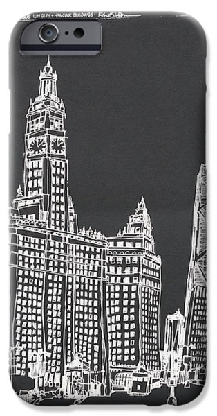 Wrigley Drawings iPhone Cases - Chicago Wrigley And Hancock Buildings iPhone Case by Robert Birkenes
