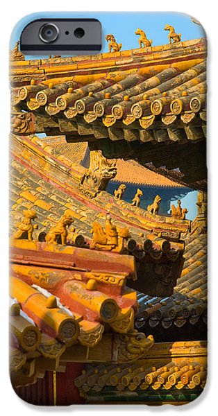 Roof iPhone Cases - China Forbidden City Roof Decoration iPhone Case by Sebastian Musial