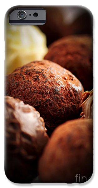 Brown Swiss iPhone Cases - Chocolate truffles iPhone Case by Elena Elisseeva