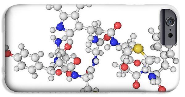 Atom Photographs iPhone Cases - Cholecystokinin-8 Molecule iPhone Case by Laguna Design