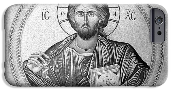 Christ In Majesty iPhone Cases - Christ Pantocrator in Black and White -- Church of the Holy Sepulchre iPhone Case by Stephen Stookey