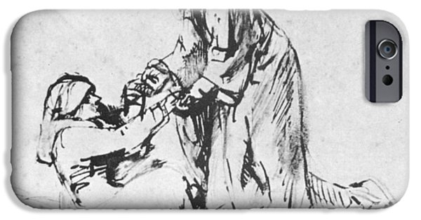 Rembrandt Drawings iPhone Cases - Christ helping up lady iPhone Case by Rembrandt