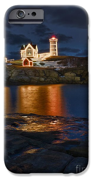 Nubble Lighthouse iPhone Cases - Christmas Nubble iPhone Case by Steven Ralser