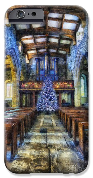 Christmas Eve Digital Art iPhone Cases - Church at Christmas iPhone Case by Ian Mitchell