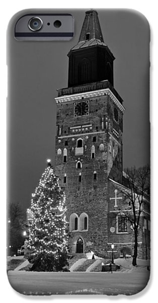 Snowy Night iPhone Cases - Church at Christmas in Turku Finland iPhone Case by Mountain Dreams