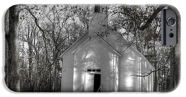 Snow Scene iPhone Cases - Church In The Cove iPhone Case by Michael Eingle