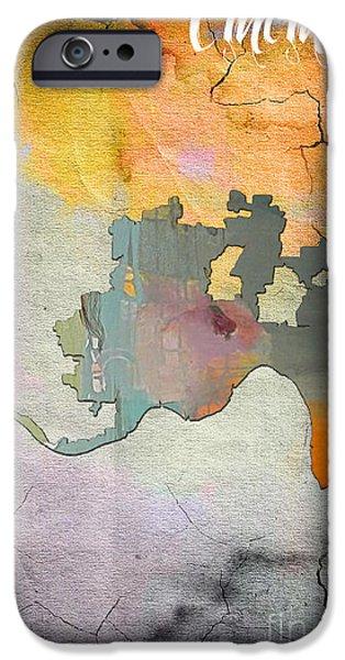 City Skyline iPhone Cases - Cincinnati Map Watercolor iPhone Case by Marvin Blaine