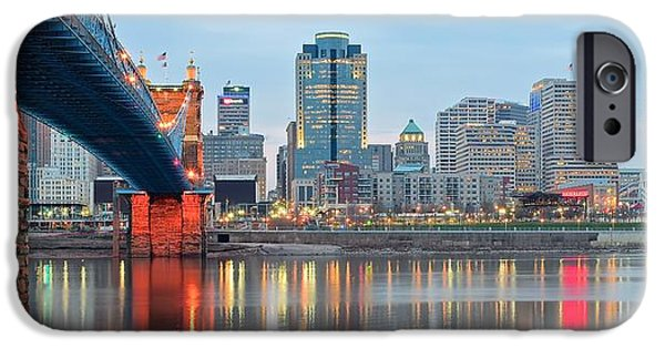 Covington iPhone Cases - Cincinnati Panorama iPhone Case by Frozen in Time Fine Art Photography