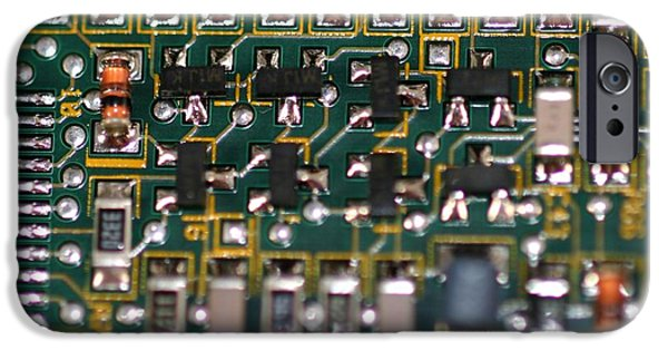 Mainboard iPhone Cases - Circuit Board iPhone Case by Henrik Lehnerer