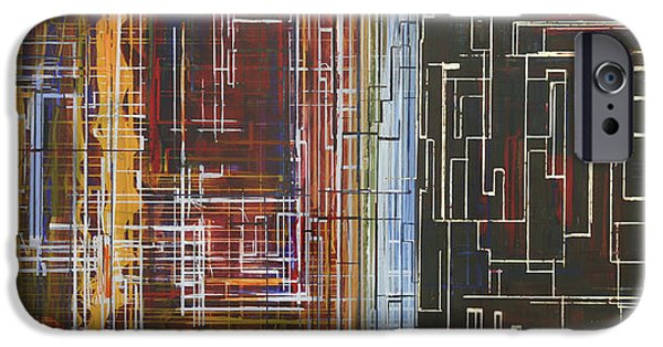 Circuit Paintings iPhone Cases - Circuit City iPhone Case by Jack Diamond