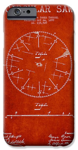 Circular Saw iPhone Cases - Circular Saw Patent Drawing from 1899 iPhone Case by Aged Pixel