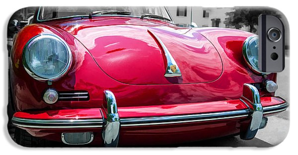 Slick iPhone Cases - Classic Red Porsche Sports Car iPhone Case by Edward Fielding