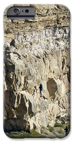 Ledge iPhone Cases - Cliff Face, Dorset iPhone Case by Adrian Bicker