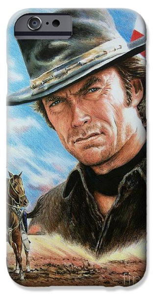 4th July Paintings iPhone Cases - Clint Eastwood American Legend iPhone Case by Andrew Read