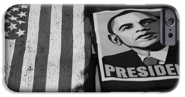 Potus iPhone Cases - COMMERCIALIZATION OF THE PRESIDENT OF THE UNITED STATES OF AMERICA in BLACK AND WHITE  iPhone Case by Rob Hans