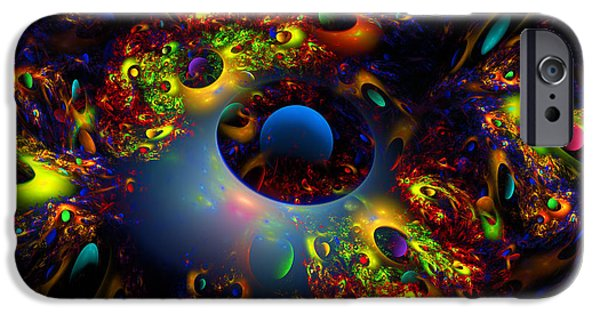 Abstractions iPhone Cases - Computer Generated Planet Spheres Abstract Fractal Flame Modern Art iPhone Case by Keith Webber Jr