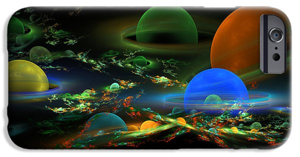 Abstractions iPhone Cases - Computer Generated Spheres Abstract Fractal Flame Art iPhone Case by Keith Webber Jr