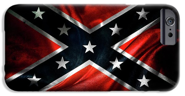 Flag Colors iPhone Cases - Confederate flag iPhone Case by Les Cunliffe