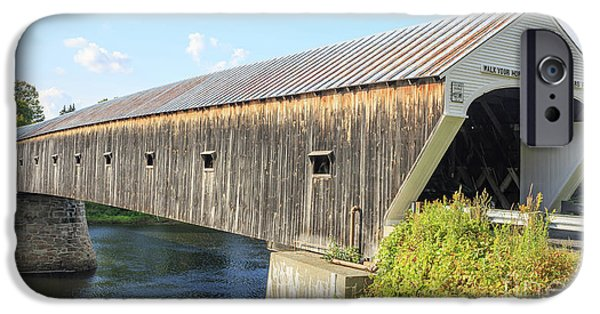 Hampshire iPhone Cases - Cornish-Windsor Covered Bridge  iPhone Case by Edward Fielding