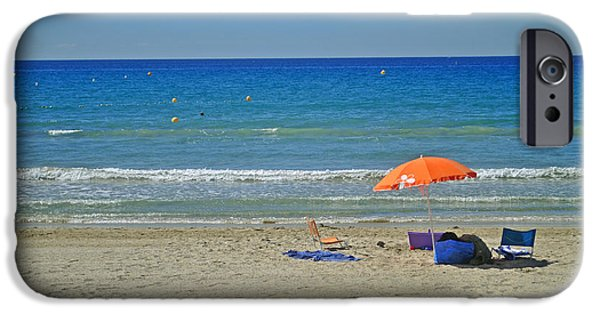 Turquois Water iPhone Cases - Red umbrealla on the blue beach of Cote dazur iPhone Case by Maja Sokolowska