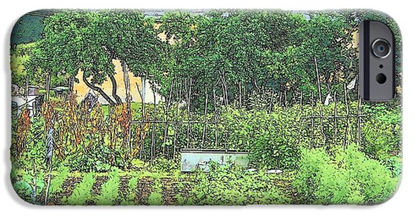 Garden Scene Digital iPhone Cases - Country Cottage iPhone Case by Jan Matson