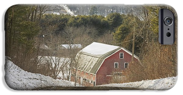 Rural Maine Roads iPhone Cases - Country Road And Barn In Winter Maine iPhone Case by Keith Webber Jr
