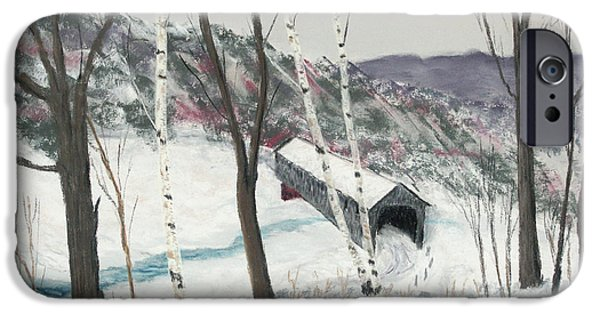 Covered Bridge Pastels iPhone Cases - Covered Bridge iPhone Case by George Burr