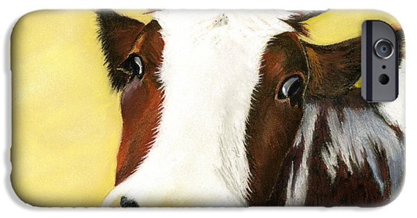 Bulls Pastels iPhone Cases - Cow No. 0650 iPhone Case by Carol McCarty