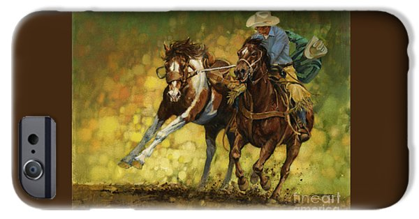 Green iPhone Cases - Rodeo Pickup iPhone Case by Don  Langeneckert