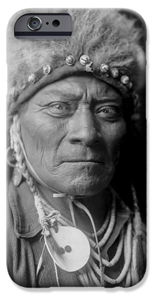 Portrait Of Old Man iPhone Cases - Crow Indian Man circa 1908 iPhone Case by Aged Pixel