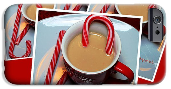 Cheer On iPhone Cases - Cup of Christmas Cheer - Candy Cane - Candy - Irish Cream Liquor iPhone Case by Barbara Griffin
