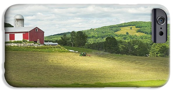 Maine Barns iPhone Cases - Cutting Hay In Summer On Maine Farm iPhone Case by Keith Webber Jr