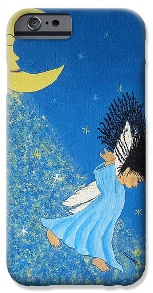 Night Angel Mixed Media iPhone Cases - Dancing On Moonbeams iPhone Case by Pamela Allegretto