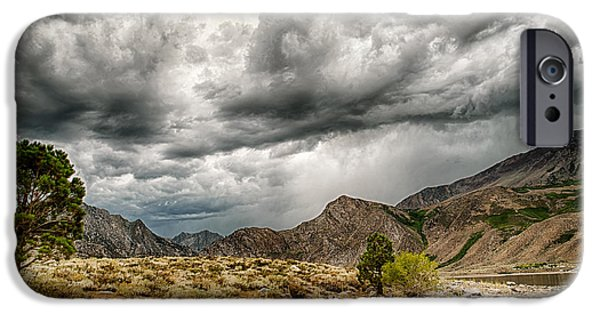 Clouds iPhone Cases - Dark Skies at Grant Lake iPhone Case by Cat Connor