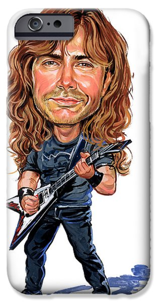 Heavy Metal Paintings iPhone Cases - Dave Mustaine iPhone Case by Art