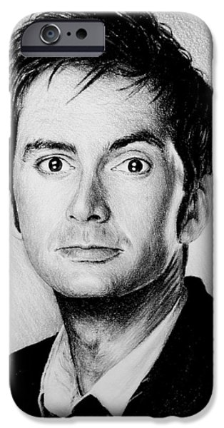 Dr Who iPhone Cases - David Tennant iPhone Case by Andrew Read