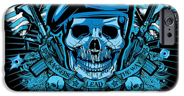 Soldiers Digital iPhone Cases - DCLA Los Angeles Skull Army Ranger Artwork iPhone Case by David Cook Los Angeles