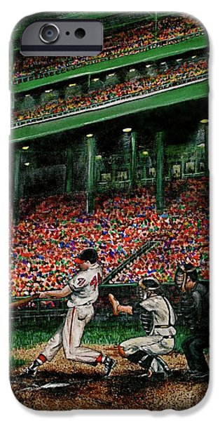 Baseball Stadiums Paintings iPhone Cases - Derreks Homerun iPhone Case by Linda Simon